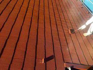 神奈川県横浜市瀬谷区 屋根塗装 中塗り・上塗り アドグリーンコート (1)